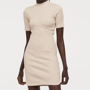 H&M Cream Fitted Ribbed Dress